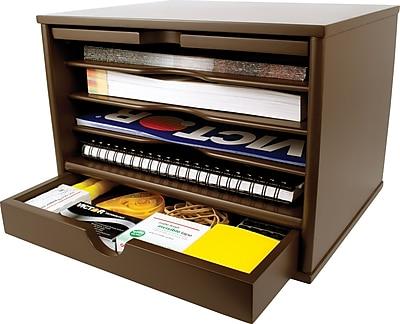 Victor® Wood Desktop Organizer, Mocha Brown