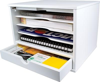 Victor® Wood Desktop Organizer, Pure White