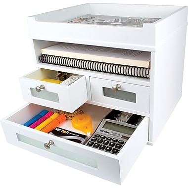 Victor wood desk organizer tidy tower pure white staples - Desk organizer white ...