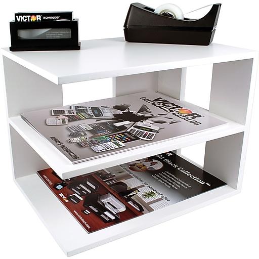 Victor Wood Desk Organizer Corner Shelf Pure White Staples
