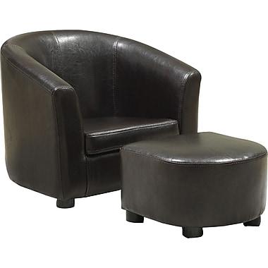 MonarchMD – Chaise et pouf pour enfants en faux cuir, brun foncé, ensemble 2 pièces