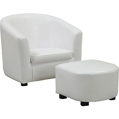 Monarch Leather-Look Juvenile Chair / Ottoman, White, 2-Piece Set