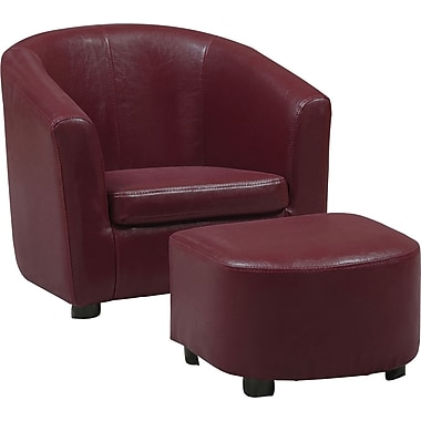 Monarch Leather-Look Juvenile Chair / Ottoman, Red, 2-Piece Set