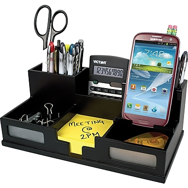 Victor Wood Desk Organizer With Smart Phone Holder