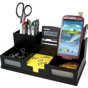 Victor Wood Desk Organizer with Smart Phone Holder, Frosted Glass Windows (9525-5)