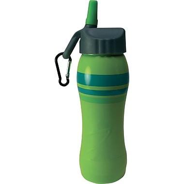 Gaiam® Stainless Steel Water Bottle with Cap Style 3, 750mL, Celadon Stripe