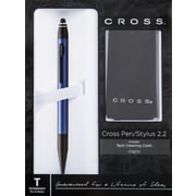Cross Tech 2.2 Blue lacquer/Matte Black Appointments, Dual Function Ballpoint Pen with Stylus and Screen Cleaning Cloth, Each