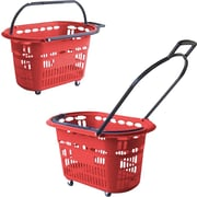 "Rolling Plastic Hand Shopping Baskets, 14"" H. x 23"" W. x 15"" D."