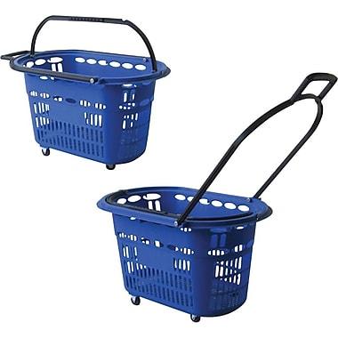 Panier d'achat roulant en plastique, 14 haut. x 23 larg. x 15 prof (po), bleu