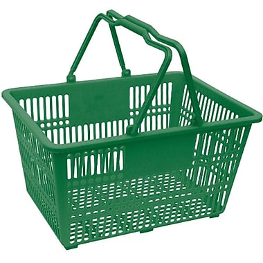 Plastic Handle Hand Shopping Basket, Green, 10/Pack (38-4401-GRN)