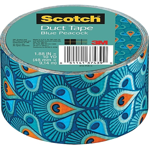 "Scotch® Brand Duct Tape, Blue Peacock, 1.88"" x 10 Yards at ..."