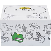 "Post-it® Printed Notes Monsters Design Doodle Pad, 4"" x 4"", White, 450 Sheets"