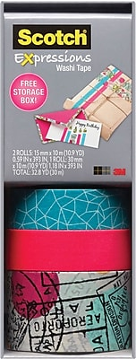 Scotch® Expressions Washi Tape, Cracked, Neon Pink, and Travel, 3 Rolls