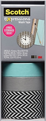 Scotch® Expressions Washi Tape, Pastel Blue, Silver, and Zig Zag, 3 Rolls