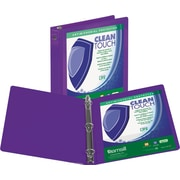 Samsill Clean Touch™ 3 Ring View Binder Protected by Antimicrobial Additive, 3 Inch Round Rings, Purple (SAM17288)