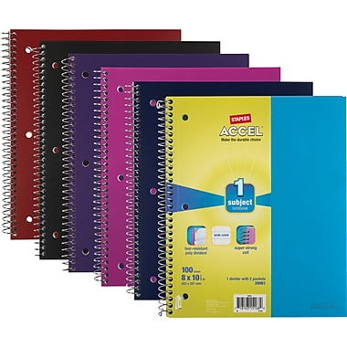 Staples® Accel Durable Poly Cover Notebook, 1 Subject, College Ruled, 8-1/2