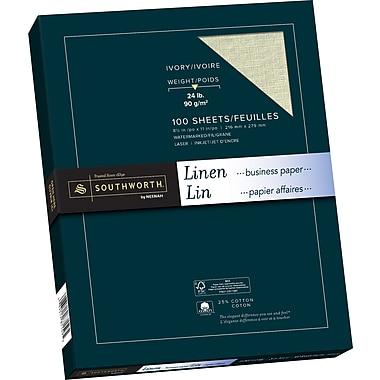 Southworth® - Papier lin, 24 lb, 8 1/2 po x 11 po, ivoire, paq./100
