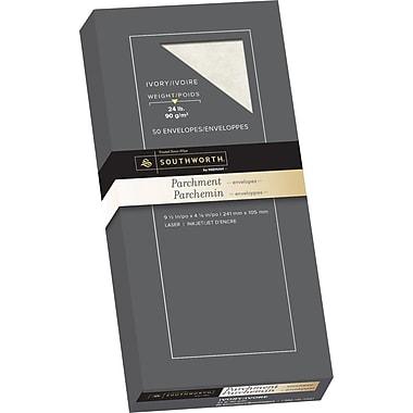 Southworth® - Enveloppes au fini parchemin n° 10, 24 lb, 4 1/8 po x 9 1/2 po, ivoire, paq./50