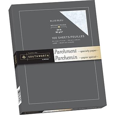 Southworth® - Papier parchemin, 24 lb, 8 1/2 po x 11 po, bleu, paq./100