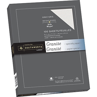 Southworth® 25% Cotton Granite Paper, 24 lb, 8 1/2