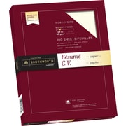 "Southworth® 100% Cotton Resume Paper, 24 lb, 8 1/2"" x 11"", Ivory, 100/Pack"