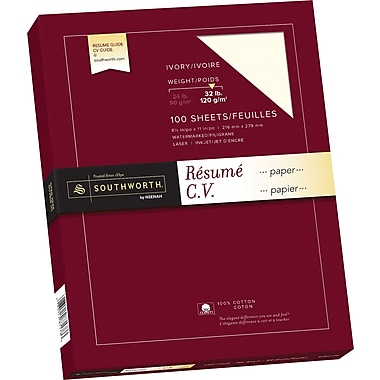 Southworth® 100% Cotton Resume Paper, 32 lb, 8 1/2