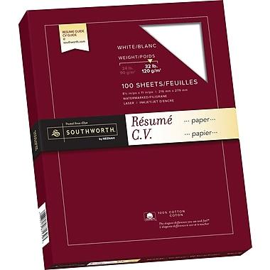 Southworth® - Papier pour curriculum vitae 100 % coton, 32 lb, 8 1/2 po x 11 po, blanc, paq./100