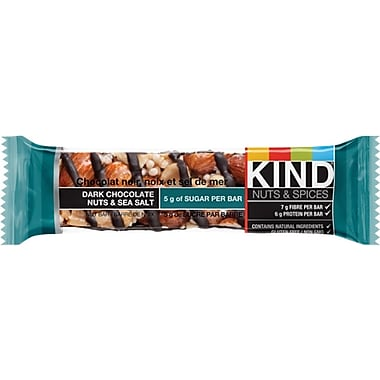 KIND® Nuts & Spices Dark Chocolate Nuts & Sea Salt Snack Bars, 40 g, 12 Bars/Box