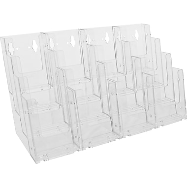 Acrylic Brochure Holders, 4 Tier Tri Fold Countertop with Business Card and Accessory Kits