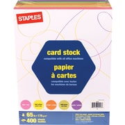 Staples Brights, 65lb. Colored Paper, Assorted, 400/Pack