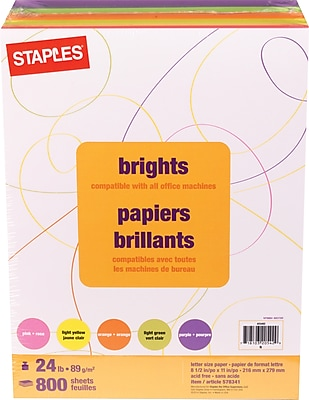 Staples® Brights, 24lb. Colored Paper, Assorted, 800/Pack