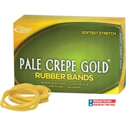 "Alliance Pale Crepe Gold Rubber Bands, #33 (3 1/2"" x 1/8"") Approximately 970 1 lb. box."