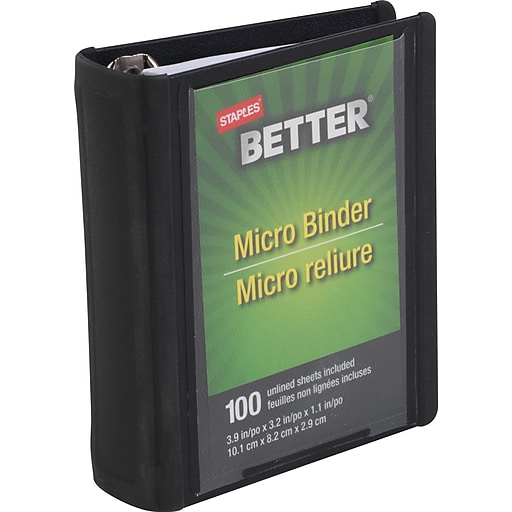 staples better micro view binder with round rings 4 x 3 staples