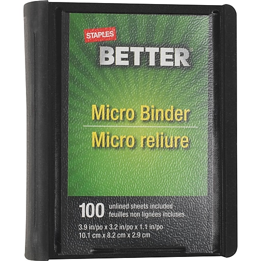staples better 1 inch round 3 ring micro view binder black 26229