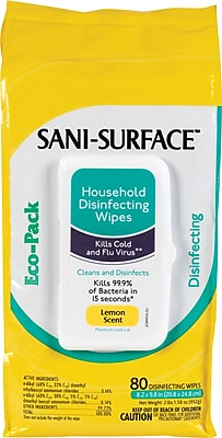 Nice Pak® Sani-Surface Disinfecting Wipes, Lemon, 80 Wipes/Pack