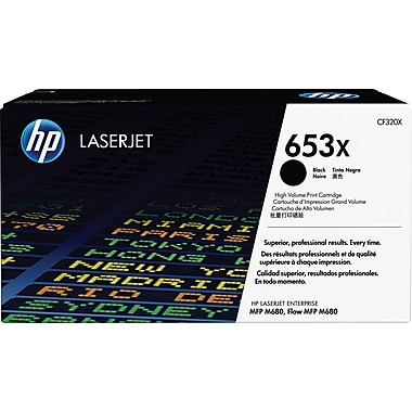 HP 653X ColorSphere Black Toner Cartridge (CF320X), High Yield