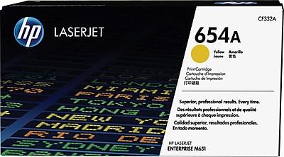HP 654A Yellow Toner Cartridge, Standard (CF332A)
