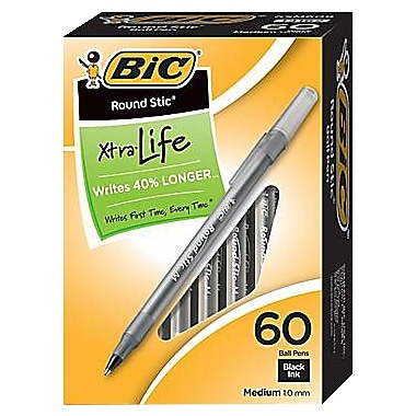 BIC® Round Stic® Ballpoint Pens, Black Ink, Medium Point, 60/Box