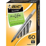 BIC® Round Stic® Ballpoint Pens, Medium Point, 60/Box