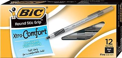 BIC® Round Stic® Grip Ballpoint Pens, Fine Point, Black, Dozen (GSFG11BK)