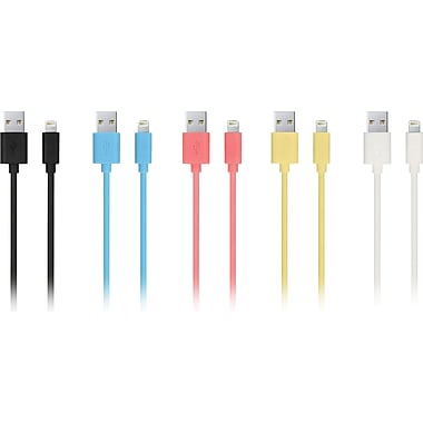 Urge Basics Apple-Certified 6.5 Ft Lightning Cables, Assorted Colors