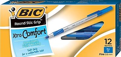 BIC® Round Stic® Grip Ballpoint Pens, Fine Point, Blue, Dozen (GSFG11BL)