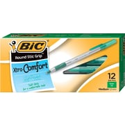 BIC® Xtra Comfort Round Stic Grip Ballpoint Pens, Medium Point, Green, Dozen (13888)