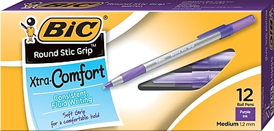BIC® Round Stic Grip® Xtra Comfort Ballpoint Pen with Grip, Medium Point, Purple