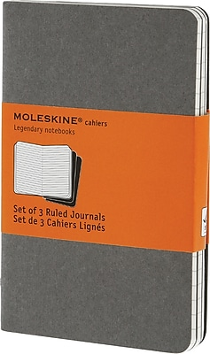 Moleskine Cahier Journal, Set of 3, Pocket, Ruled, Pebble Grey, Soft Cover, 3-1/2
