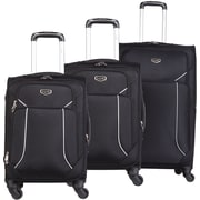 Bugatti 3-Piece Soft Case Luggage Set, Black