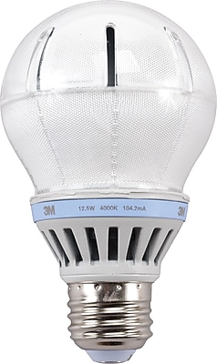 3M A-19 LED Light Bulb, Cool White, Dimmable 126114