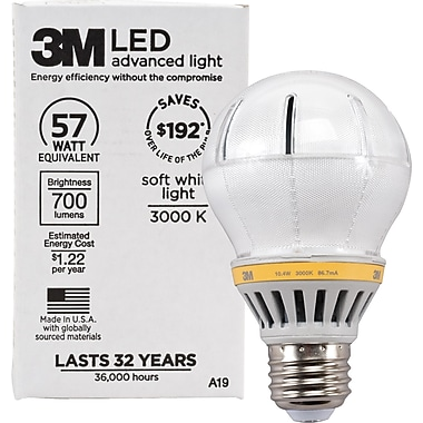 3M™ A-19 LED Light Bulb, Soft White, Dimmable