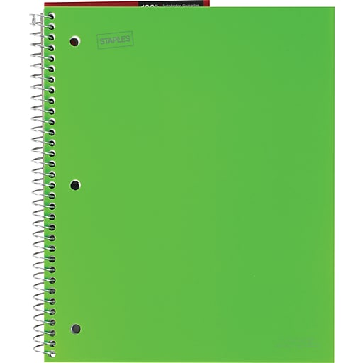 """Staples Accel Durable Poly Cover Notebook, Wide Ruled, Green, 8-1/2"""" x 11"""", 12 pack"""