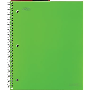 Staples® Accel Durable Poly Cover Notebook, College Ruled, Green, 8-1/2